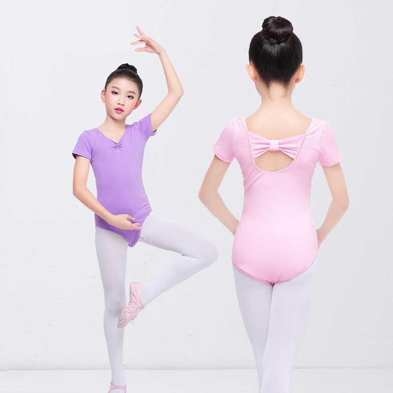 Girls Kids Ballet Dance Gymnastics Short Sleeve Leotards Dancewear Lace Costumes