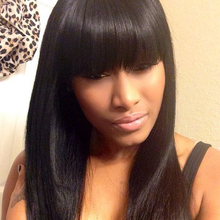 Cheap Long Black Straight Lace Front Wig With Bangs Full Lace Glueless Human Hair Wig Natural Straight With Baby Hair In Stock