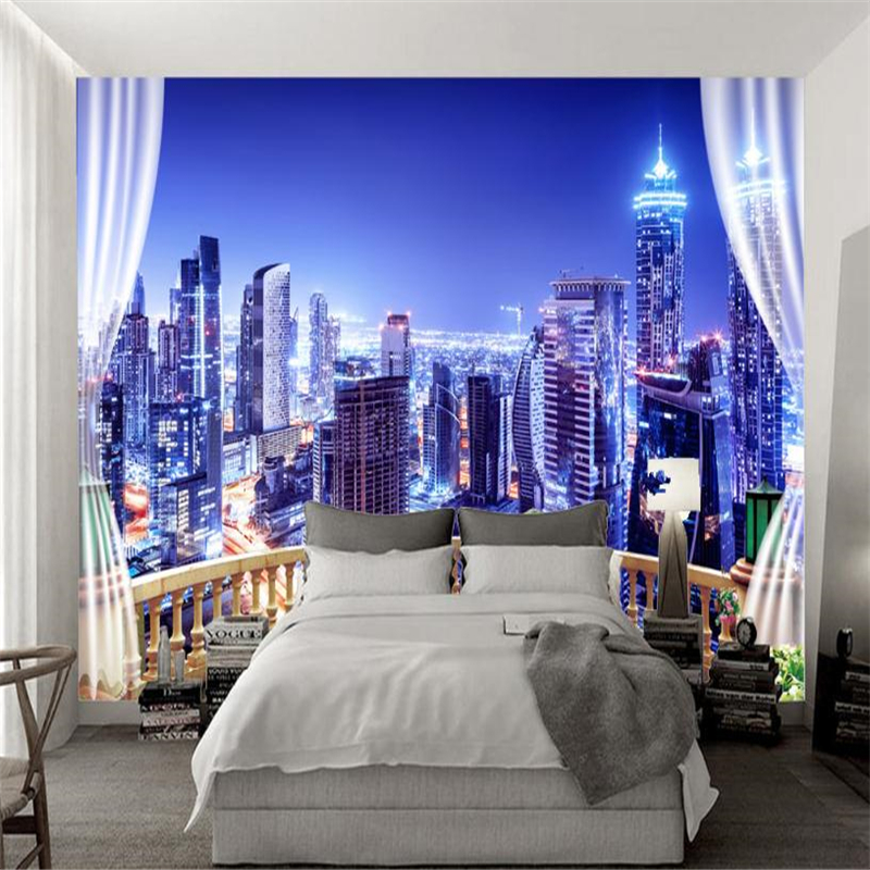 Custom Wall Murals 3D Steroscopic Wallpaper City Theme Style Bright Night Photo Walls Papers for Living Room Home Decor Bedroom custom 3d photo wallpaper dubai night view city building wall mural wall papers home decor living room background wall painting