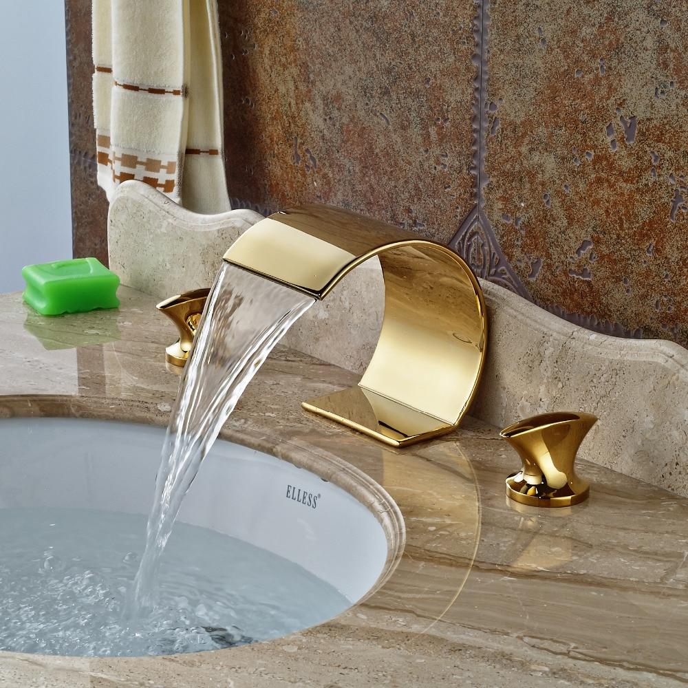 Wholesale And Retail Solid Brass Big Waterfall Bathroom Basin Faucet Dual Handles Vanity Sink Mixer Tap