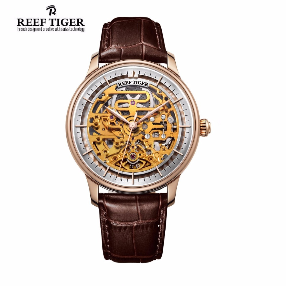 Reef Tiger/RT Skeleton Automatic Watch Rose Gold Leather Strap Wrist Watch for Men RGA1975 yn e3 rt ttl radio trigger speedlite transmitter as st e3 rt for canon 600ex rt new arrival