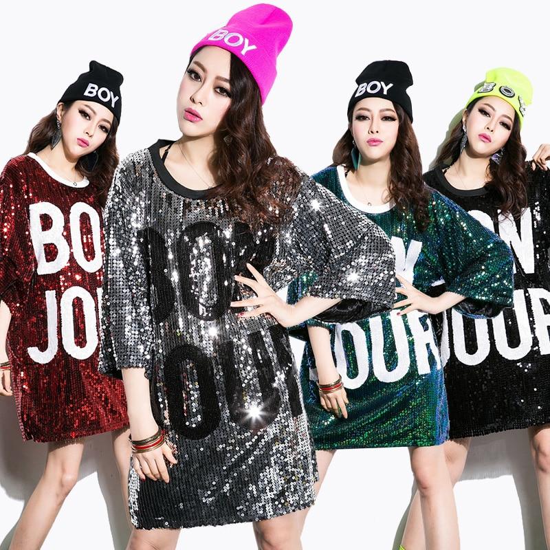 New Women Tops Tshirts Sequins Design Hot Girls Shirts Dancing Top Long Pattern Dance/Disco/Jazz Dance/Hip-hop T Shirt Plus Size