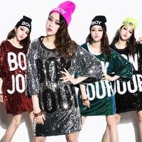 New Women Tops Tshirts Sequins Design Hot Girls Shirts Dancing Top Long Pattern Dance/Disco/Jazz Dance/Hip hop T Shirt Plus Size