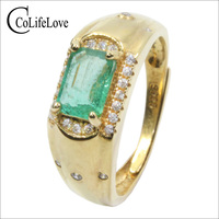 CoLife Jewelry Emerald Man Ring 0.6ct Natural Emerald Silver Ring for Man 925 Silver Man Ring with Emerald Gift for Boyfriend