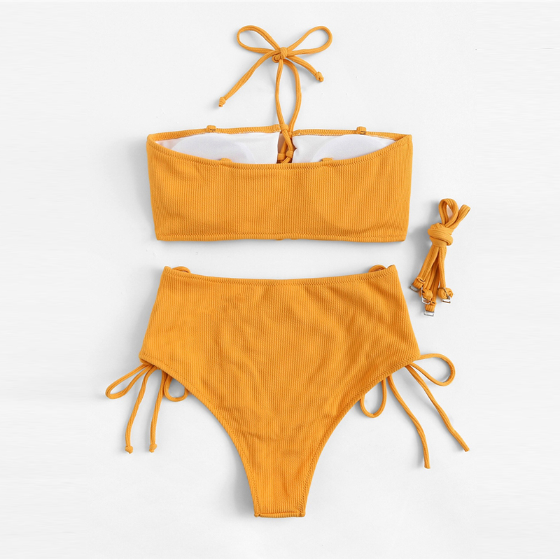 Top With Lace-up Bottoms Bikini Set 12