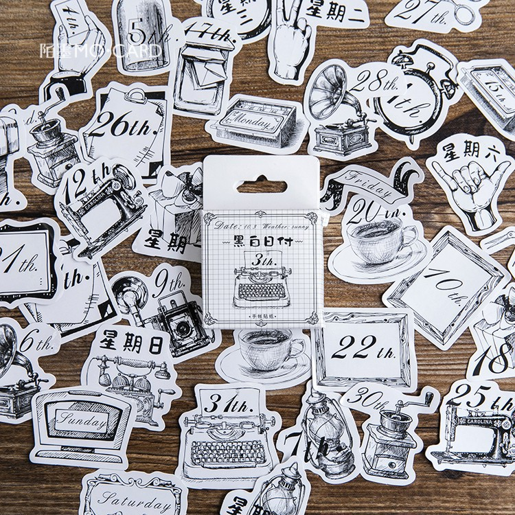 45pcs/lot Creative Cute Life Supply Date Stickers Diary Album Decorative Stickers Flakes Office School Supplies Stationery
