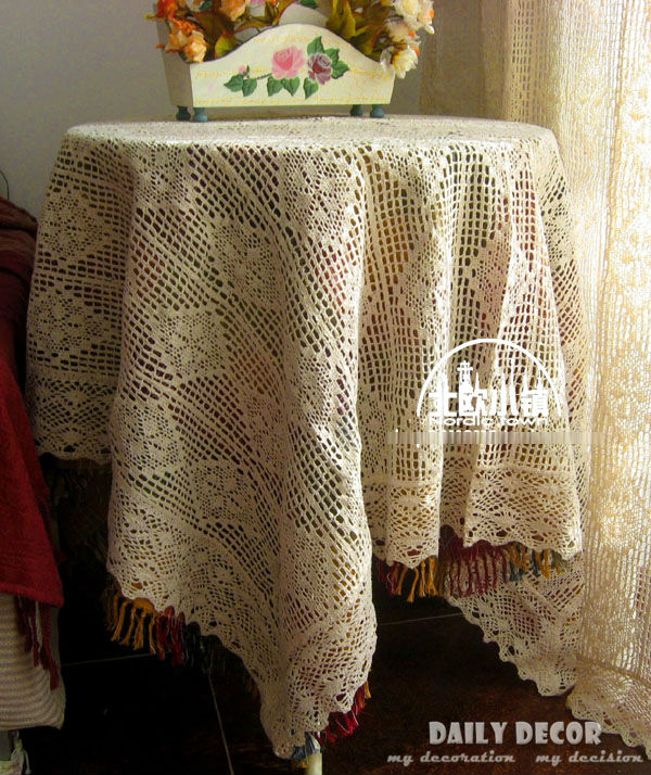 100% cotton handmade openwork crochet tablecloths vintage Beige American Weave Hollow table linen table cloth table fabric