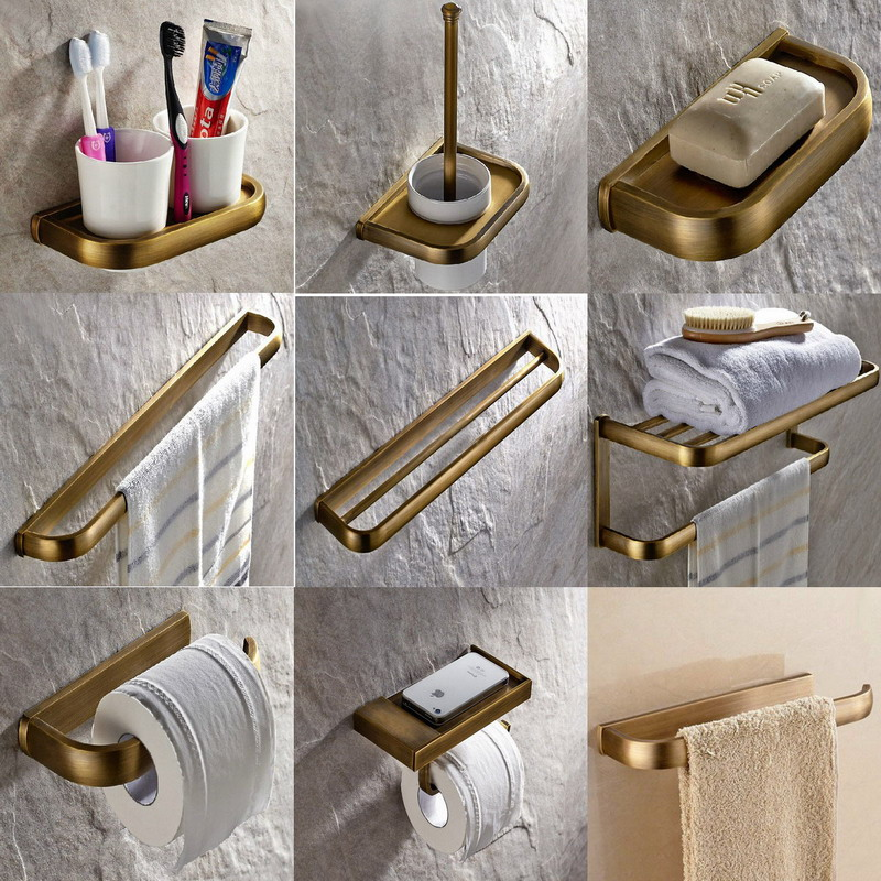 Antique brass bath hardware wall mounted bathroom - Bathroom accessories paper towel holder ...