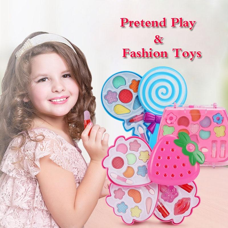 Girls Pretend Princess Makeup Kit Kids Make-Up Traveling Box Beautiful Girl Finger Nail Powder Lipsticks Pretend Play Kits
