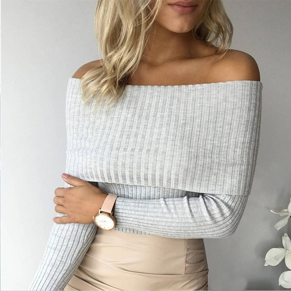 9400756a4c Detail Feedback Questions about 2018 Womens Ladies Slash Neck Knitted T Shirt  Off Shoulder Long Sleeve Fitted Women Tops Elegant Tee Shirts Bottom Sweater  ...