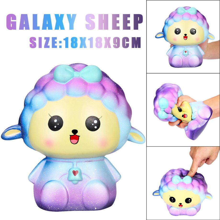 цена на 2018 Starry Funky 18cm Squishy Jumbo Big Galaxy Sheep Slow Rising Cream Squeeze Scented Cure Toys party favors for boys or girls