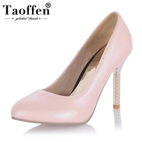 TAOFFEN women stiletto high heel shoe pointed toe spring footwear lady spring fashion heeled pumps heels shoes size 34 45 P17517