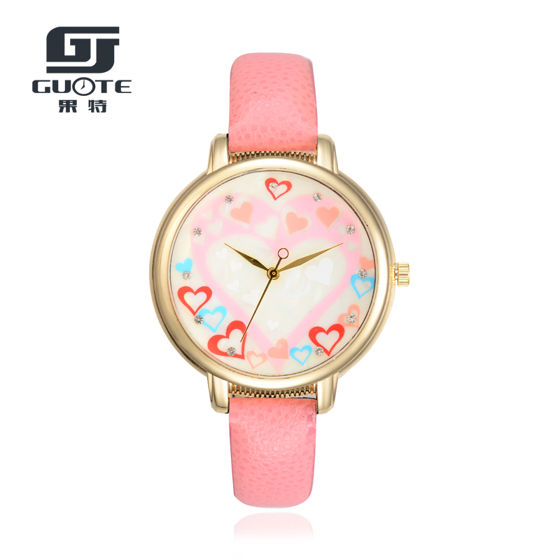 GUOTE New Fashion Luxury Brand Gold Heart Casual Quartz Watch Women Thin Leather Strap Dress Watches Relogio Feminino Hot Sale