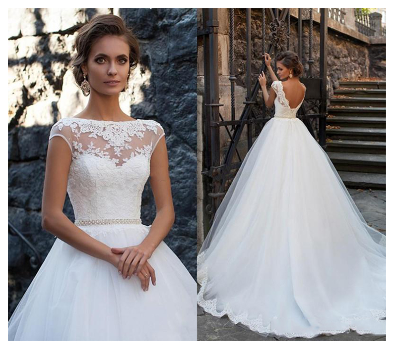 LORIE Princess Wedding Dress Open Back Elegant Appliqued A-Line Bride Dresses Boho Gown 2019