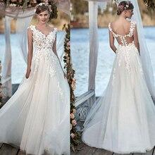 Junoesque Tulle V neck A line Wedding Dresses with Beaded Handmade Flowers Applique Illusion Back Bridal Dress vestido de novia