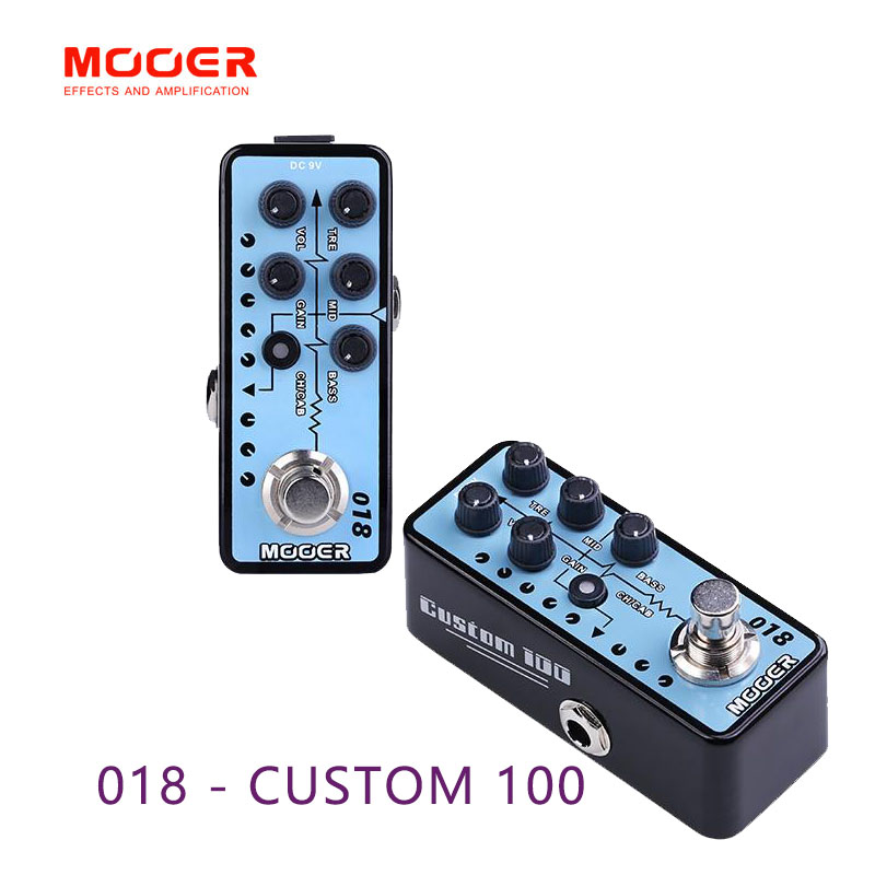 MOOER 018 CUSTOM 100 guitar pedal High quality dual channel preamp Independent 3 band EQ Guitar accessories mooer digital preamp live guitar effect pedal equipped with 12 independent pre stage channels guitar accessories