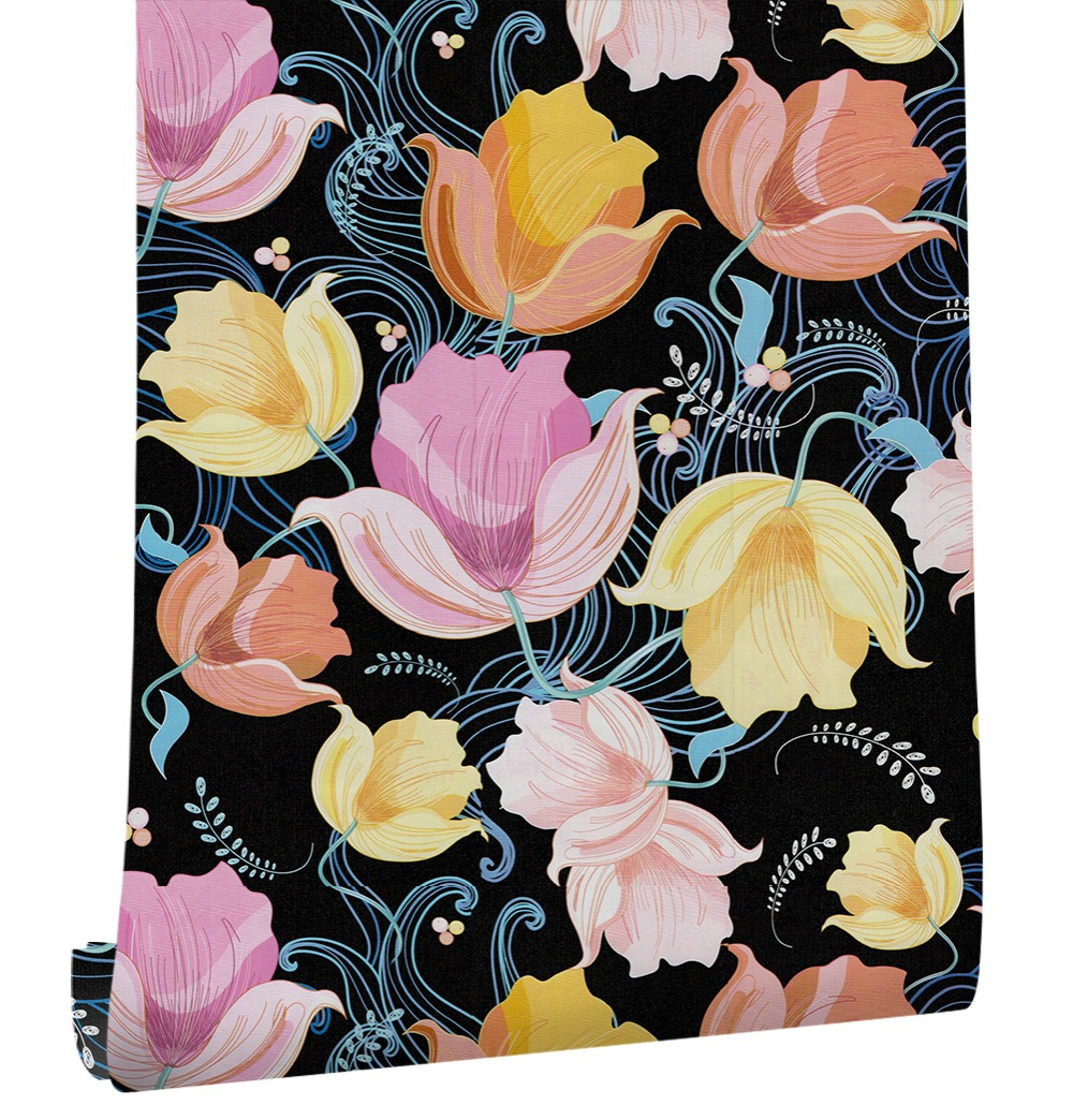 Haokhome Vintage Flower Self Adhesive Wallpaper Roll Yellow Black
