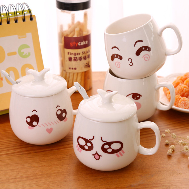 Vilead Coffee Mug Smiley Creative Cup Face Cartoon With Handgrip 320ml Computer