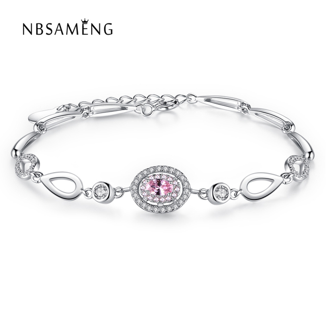 100% 925 Sterling Silver Fine Jewelry Crystal Bracelet Women Heart Charm AAA CZ Rose Quartz Bracelets Valentines Day Love Gift