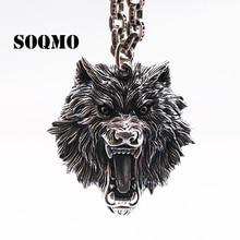 SOQMO 빈티지 펜던트 100% 진짜 925 스털링 실버 주얼리 남자 여자 동물 늑대 머리 목걸이 펜던트 SQM059