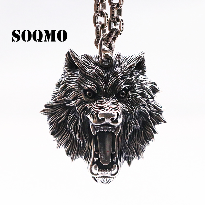 SOQMO Vintage Pendant 100% Real 925 Sterling silver Jewelry Men Women Animal Wolf Head Necklace Pendant SQM059 soqmo ye of god pendant 100% real 925 sterling silver fine jewelry men women punk eye of devil necklace pendant sqm058