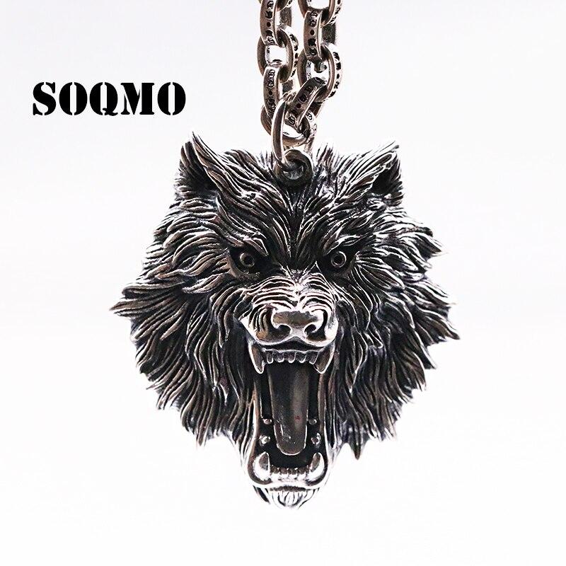SOQMO Vintage pendentif 100% réel 925 bijoux en argent Sterling hommes femmes Animal loup tête collier pendentif SQM059