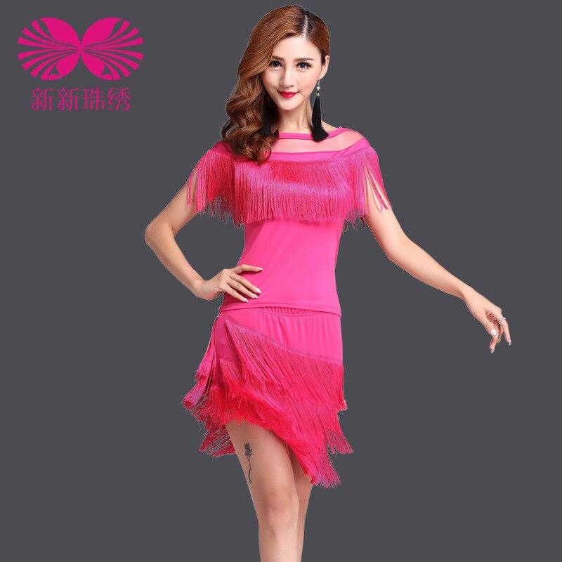 2017 robe de salon robe de danse latine Tango pour dames costumes Performance porter gland paillettes vêtements femmes jupe de haute qualité