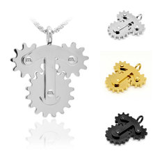 Stainless Steel Machine 3 Gears Pendant Necklace Unique Steampunk Anti-stress Puzzle Necklace Men Hipster Jewelry