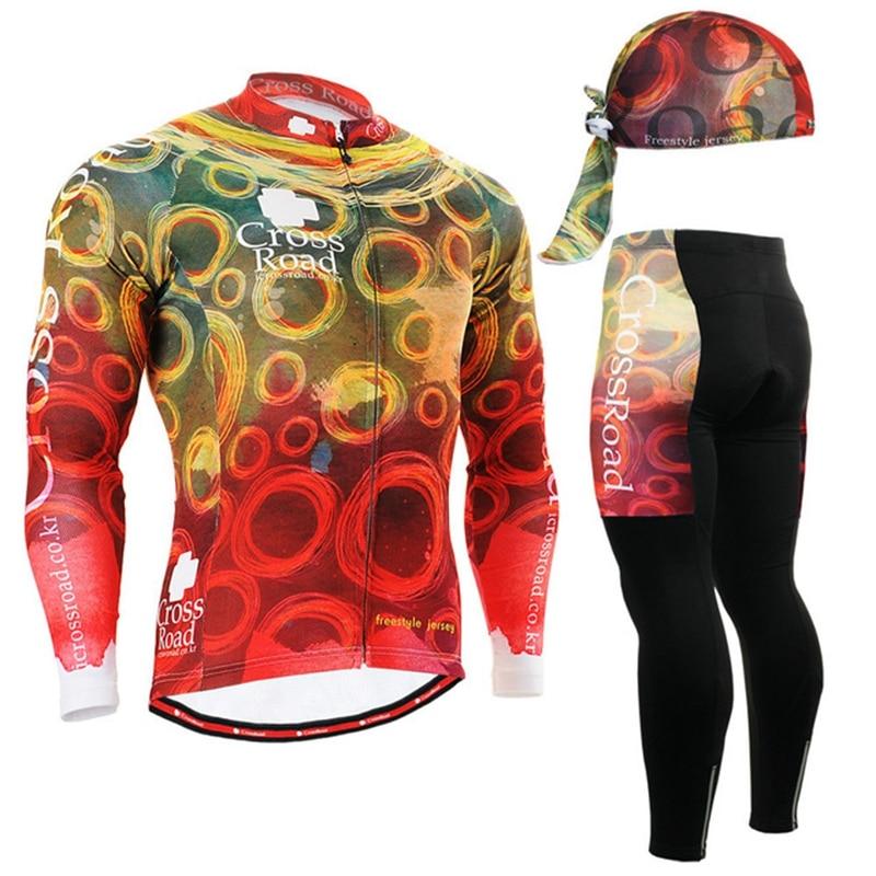 2017 New Colorful Circles Mens Long Sleeve Cycling Jerseys Set orange Autumn Bicycle Clothing set suits jackets+long pants+cap