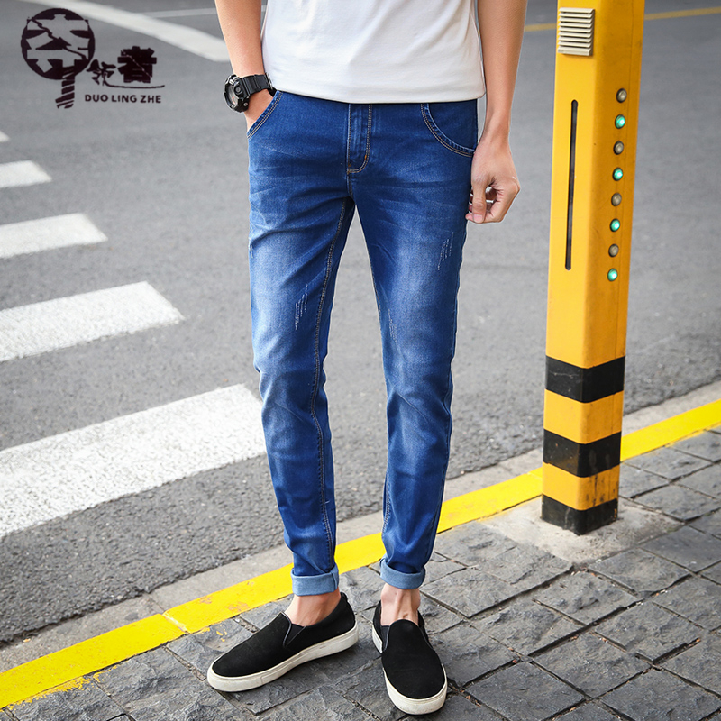 715f7ef5cf11 UNIVOS KUNI 2018 Summer New Style Casual Korean Fashion Men Jeans With  Elasticity Regular Fit Solid ...