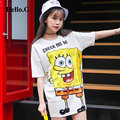 2016 Summer Loose Casual Tops Tee Short Sleeve O-neck Funny Kawaii SpongeBob Printed Female T-shirt for Women Camisetas Mujer