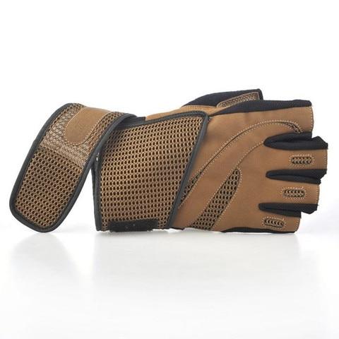 Men Body Building Brand Fitness Gloves Equipment Weight lifting Luvas Non-slip breathable Long Wrist Wrap Black Brown Mittens Karachi