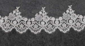 Image 5 - High Quality Neat Glitter Sequins Lace Edge 3 M Long Wedding Veil One Layer Cathedral Bridal Veil Voile Mariage