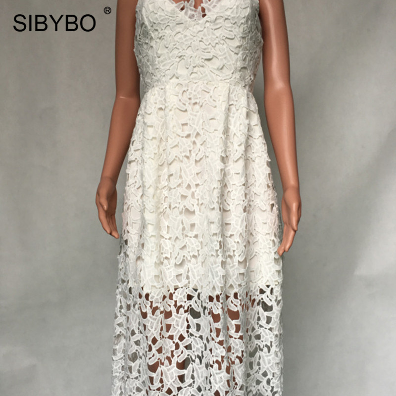 Sibybo Lace Dress Sibybo Lace Crochet Spaghetti Strap Summer Party Dress Sleeveless Hollow  Out V Neck Sexy Long Dress Women Beach Bodycon Dress-in Dresses from  Women's ...