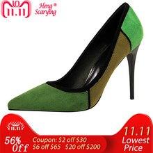 565718d74a6 2018 Size 40 New Women Elegant Luxury Design 10cm High Heels Pumps Lady  Pointed Toe Green Scarpins Heels Female Patchwork Shoes