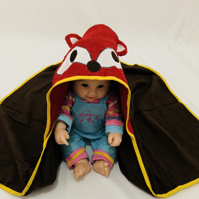 Детское махровое полотенце с капюшоном и изображением животных, халат с изображением животных для малышей, синий От 0 до 6 лет - Цвет: fox