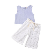 1-6Years Sweet Infant Baby Girl Sleeveless Linen Top Hollow Trousers Pants Clothes Set