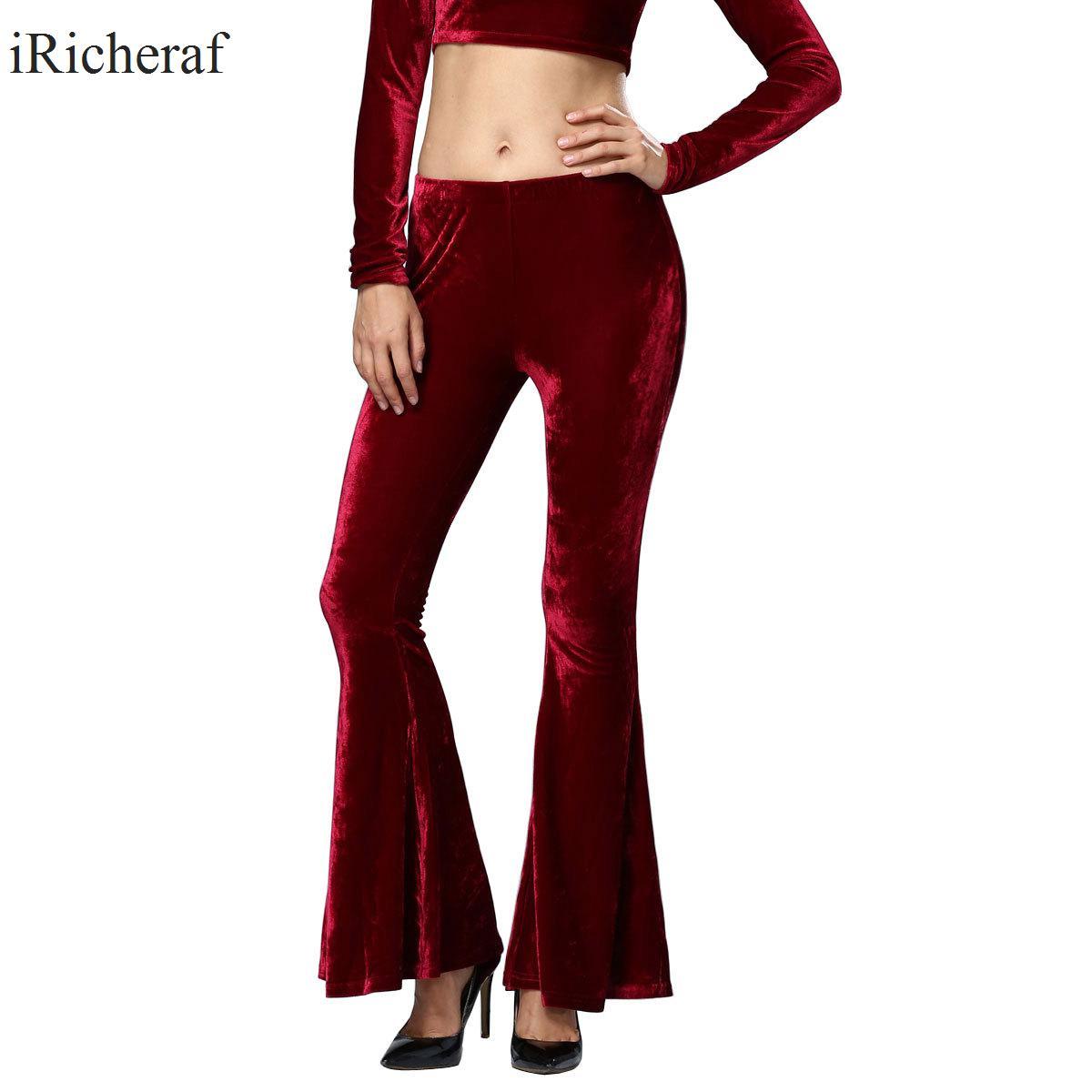 iRicheraf Full Length Flare Pants Women Fashion Solid Slim Casual Pant Female Ladies Trousers Feminino Hot Sale Autumn Clothing