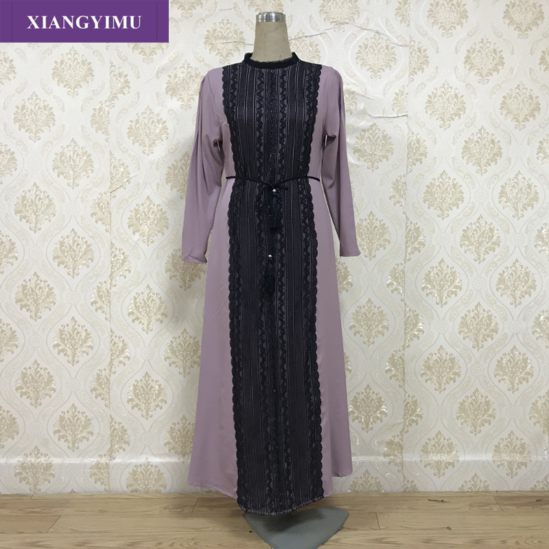 F8868-2 Muslim Abaya Fashionable Lace Dress Muslim Abaya, Fashionable Elegant Dress In Stock