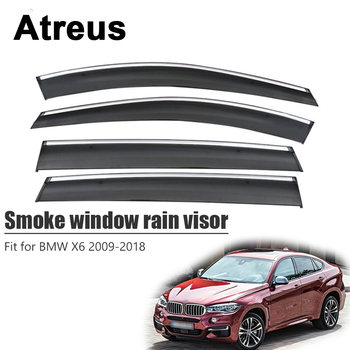 Atreus For BMW X6 2009 2010 2011 2012 2013 2014 2015 2016 2017 2018 Car Door Smoke Window Sun Rain Visor Wind Deflectors Guard