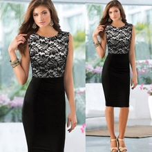 New Women Elegant Pinup Vintage Retro Lace Off Shoulder Patchwork Belted Stretch white black Bodycon Party Fitted Dress