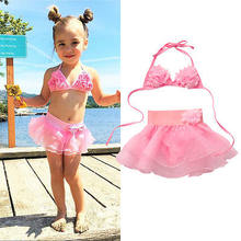 2017 Summer Cake Style Pink Children's Baby Floral Bikini Girls Cute Swimwear Kids Infant Lovely Princess Two Pieces Swimsuit(China)