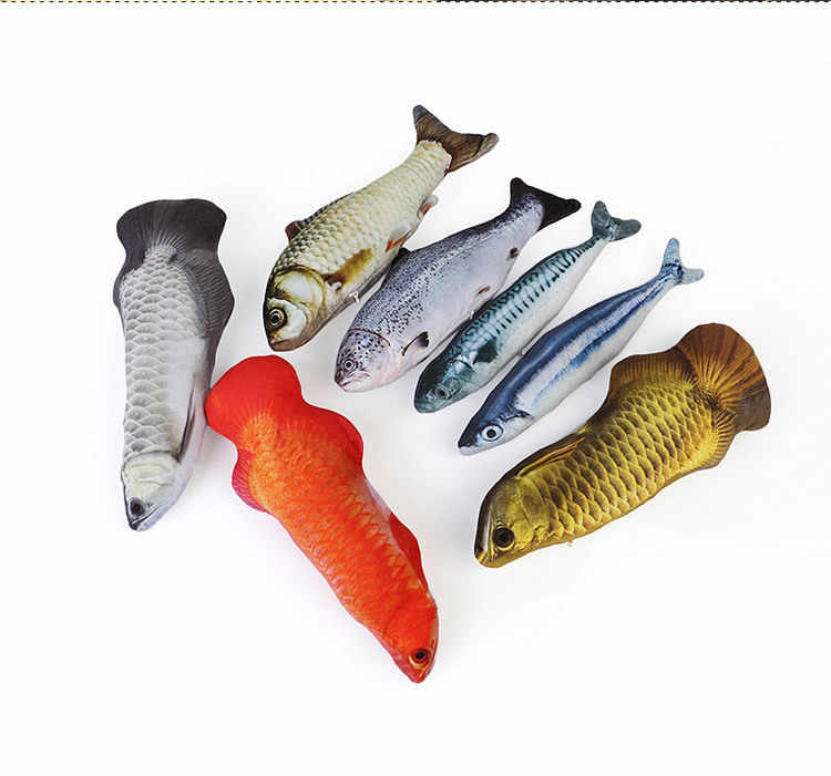 Brinquedo de pelúcia criativo 3d carpa forma de peixe gato presente bonito simulação de peixe brincando de brinquedo para presentes para animais de estimação catnip peixe recheado travesseiro boneca