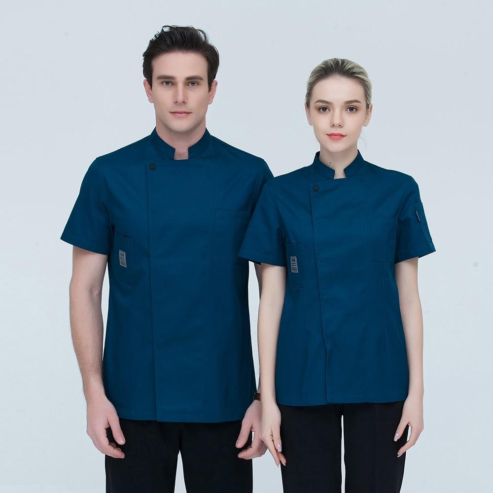 Black Short Sleeve Chef Uniforms Restaurant Hotel Chef