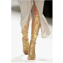 лучшая цена Luxury Gold Summer Gladiator Knee High Boots Lady Cut-Out Open Toe Sandals long Boots Design Runway Party Dress Shoes Women 2020