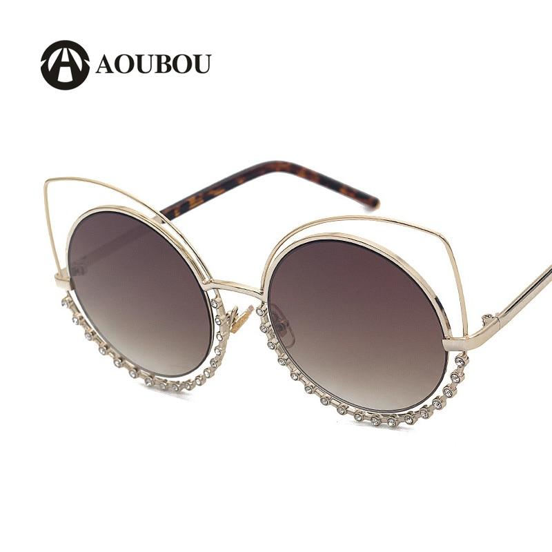 AOUBOU Brand Luxury Eye Cat Sluneční brýle Diamanty Zrcadlo Sluneční brýle pro ženy Nerezová Růžová Polykarbonát Gafas Sol 7108