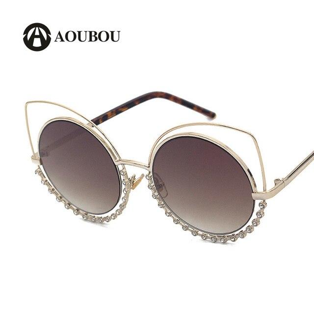 517764c16a Gafas de sol de lujo de marca AOUBOU tipo ojos de gato, lentes de sol
