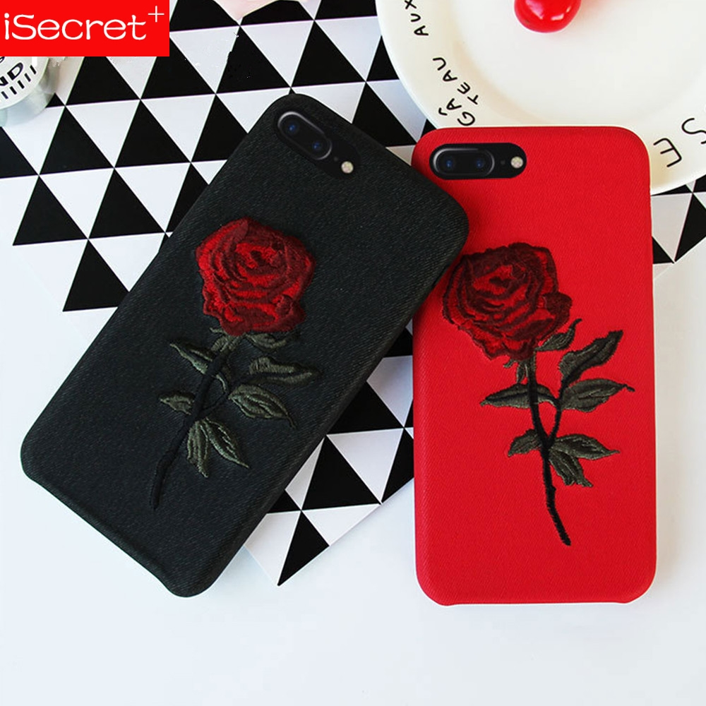 Rose Flower Phone <font><b>Case</b></font> For Apple <font><b>iPhone</b></font> X 8 7 <font><b>6S</b></font> 6 Plus Embroidery Fashion <font><b>Sexy</b></font> Back Cover <font><b>Cases</b></font> For <font><b>iPhone</b></font> 10 image