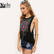 New Summer Style Women Sexy Tops Black Round Neck Sleeveless Vintage Tribal Print Fitness Casual Tank Tops