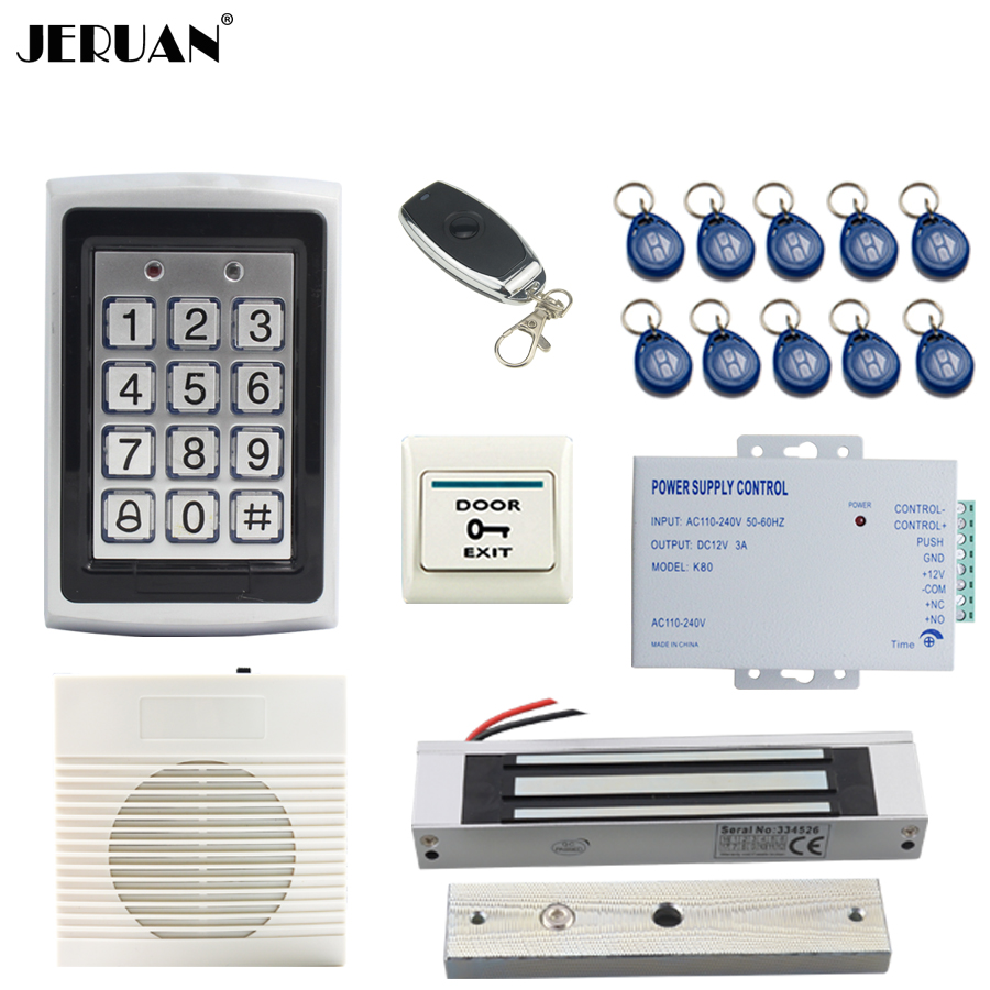 JERUAN Metal Backlight button RFID Access Controller system kit+doorbell+Remote control+Exit Button+Free shipping jeruan metal waterproof rfid password touch access controller system kit speaker doorbell remote control in stock free shipping